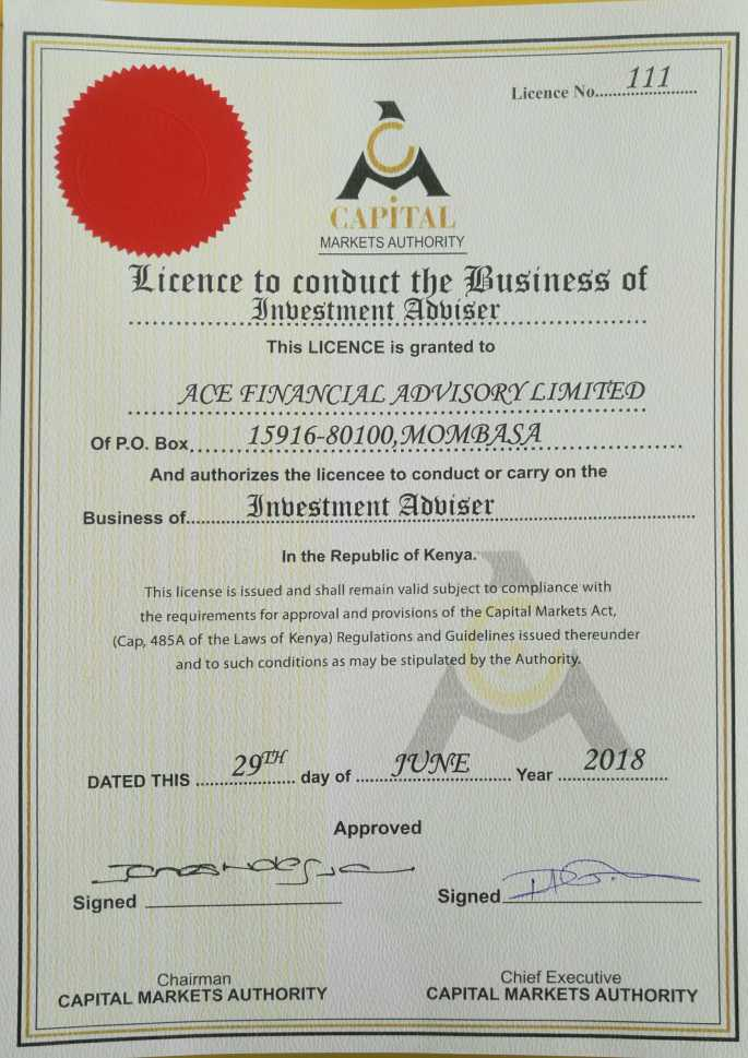 CMA Investment Advisor Licence AFA